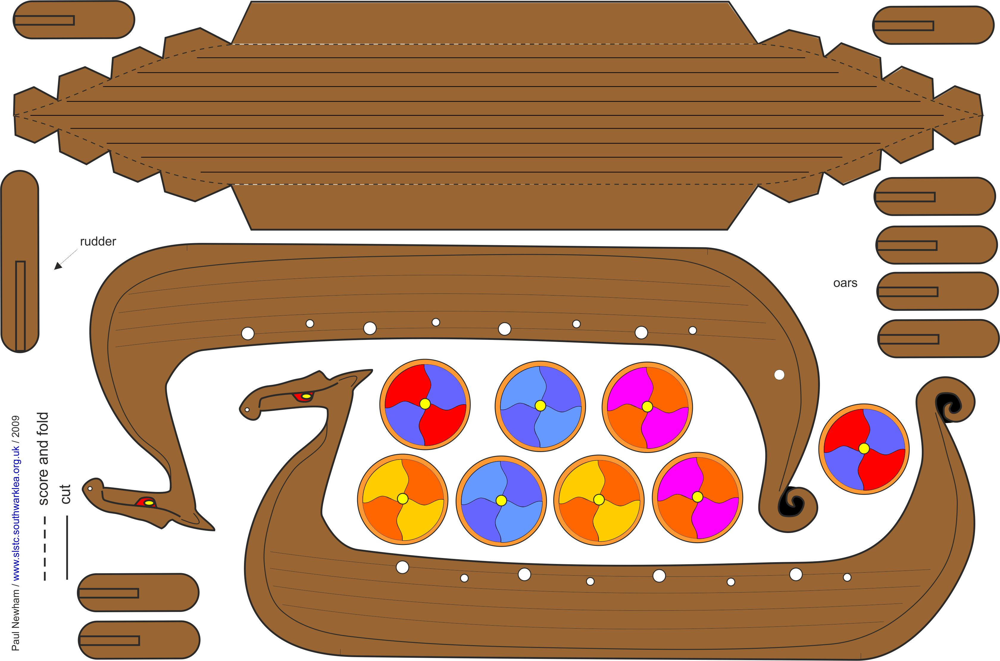 Click Here For Free Viking Longboat Coloured Template Pdf